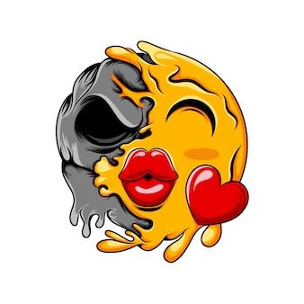 大きなキスの唇を持つ愛の絵文字が暗い黒い頭蓋骨に変わります