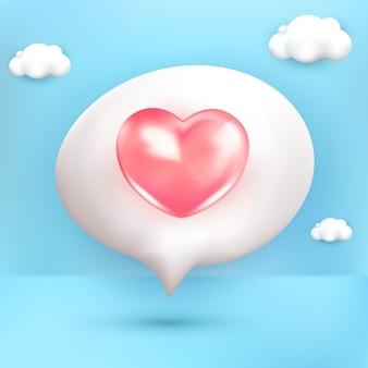Любовные эмоции мультипликационный персонаж розовый смайлик 3d с синим фоном облака
