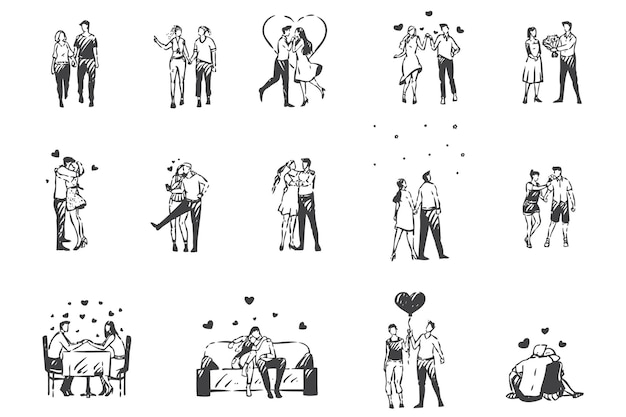 愛、夢中の人々のコンセプトスケッチ。ロマンチックな雰囲気、バレンタインデー、恋愛中のカップル、恋人同士のデート、色とりどりの男女が一緒に時間を過ごすセット。手描きの孤立したベクトル