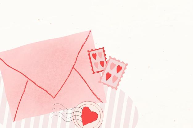 발렌타인 데이 사랑 봉투 배경