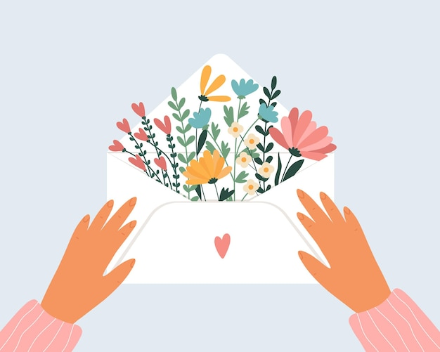 Love envelope in hand and flowers around.