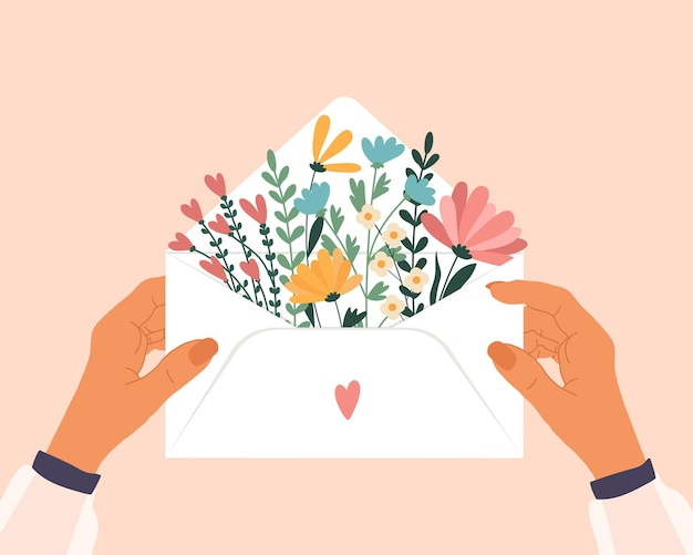 手に封筒と中の花が大好きです。
