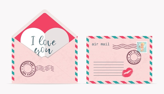 Любовный конверт с печатями, марками, открыт с валентинкой и закрыт. иллюстрация