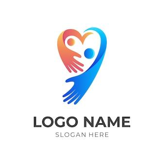 사랑 가족 로고, 심장 및 사람, 3d 파란색 및 주황색 스타일의 조합 로고