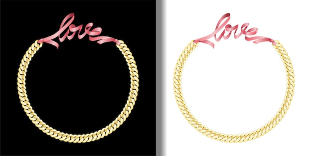 Love fashion prints with gold chain and pink ribbon set