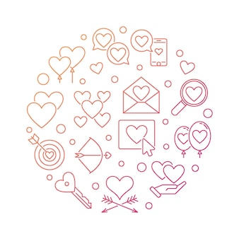 Love and feelings vector round colored outline illustration