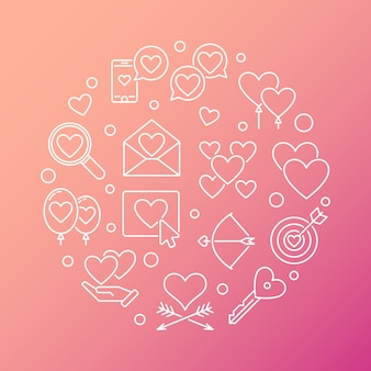 Love and feelings vector round line illustration