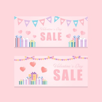 Love festival and gift box valentine's day theme pink color tone promotion banner vector background
