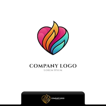 Love fire colorful logo isolated on white