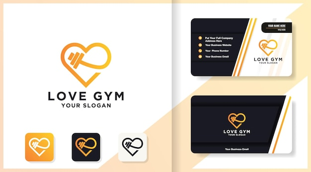 Логотип линии фитнеса любви и дизайн визитной карточки