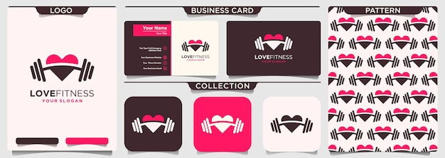 Люблю фитнес шаблон дизайна логотипа. элемент гантели в сочетании любви.