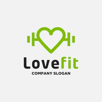 Love fitness logo design template
