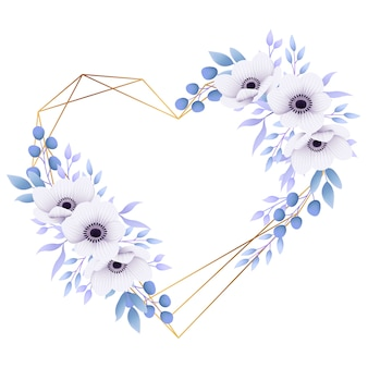 Love floral frame background with anemone flowers