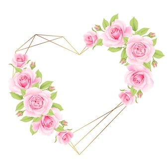 Love floral frame background with pink roses