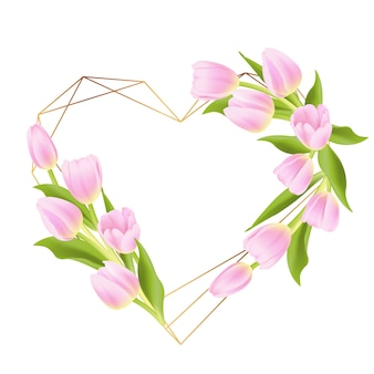 Love floral frame background with pink tulip