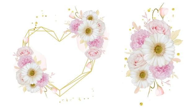 水彩のバラと白いガーベラの花と花のフレームが大好き
