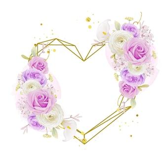 Ghirlanda floreale d'amore con giglio rosa viola acquerello e fiore di ranuncolo