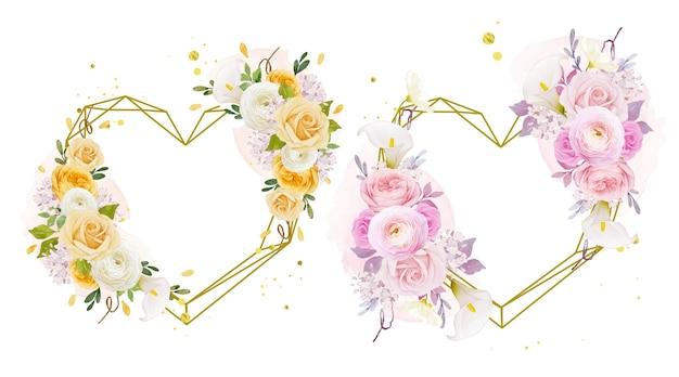 Corona floreale d'amore con giglio rosa acquerello e fiore di ranuncolo