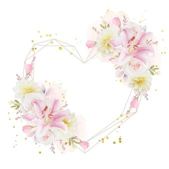 水彩のバラユリとダリアの花と花の花輪が大好き
