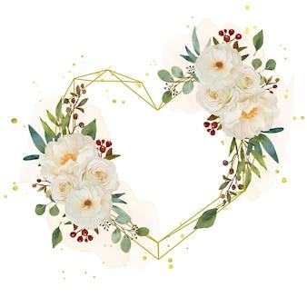 Amo la corona floreale con rosa bianca dell'acquerello e fiore di peonia