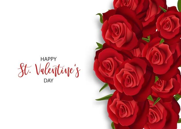 愛の花の花束バレンタインバナーフレームリアルな赤いバラ聖バレンタインデーカード