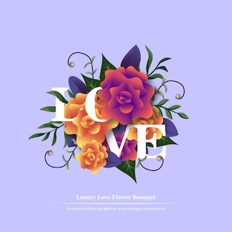 Love flower bouquet with title template