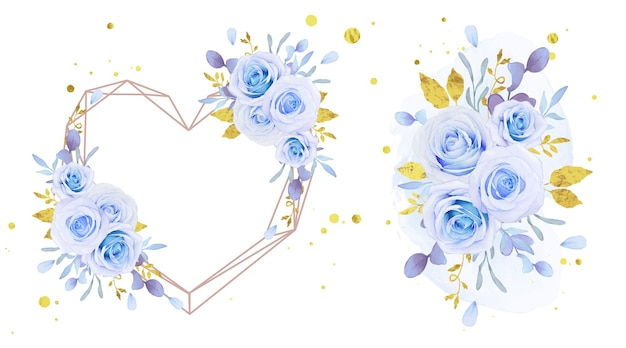 Love flower wreath and bouquet of watercolor blue roses