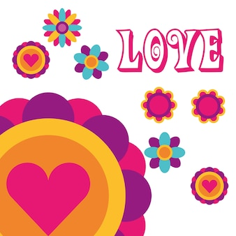 Love flowers love heart bohemian hippie free spirit