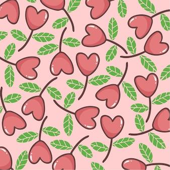 愛の花のパターンの背景ベクトル図