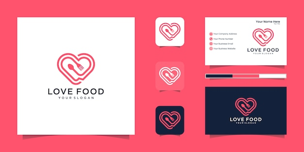 Love food logo for restaurant and business card inspiration