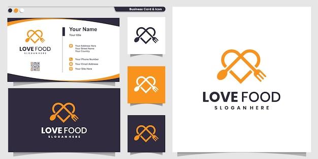 Логотип love food с современным стилем линии и шаблоном дизайна визитной карточки