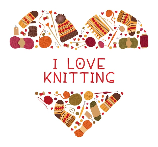 編み物とかぎ針編みのハートフレームが大好き暖かい冬の手作りのウールの服と針編みの道具