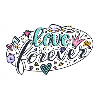 Love forever lettering quote card