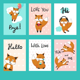 Love foxes greeting cards vector template set