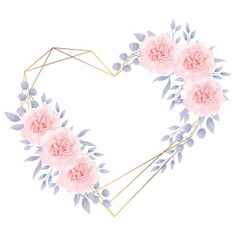 Love frame background floral with roses