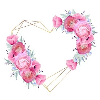 Love frame background with floral ranunculus and poppy flowers