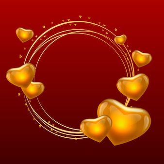 Love frame with hearts gold circle vector