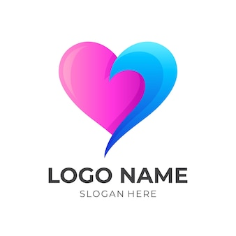 Love fresh logo, love and wave, combination logo with 3d pink and blue color style