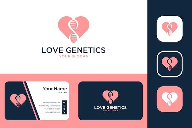 사랑 유전학 현대 로고 디자인 및 명함