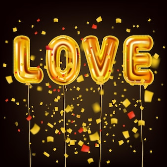 Love gold helium metallic glossy balloons realistic text, burst foil confetti. background design happy valentines day