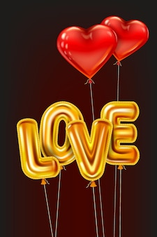 Love gold helium metallic glossy balloons realistic text, heart shape flying red balloons, happy valentines day