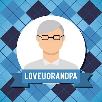 안경 노인과 할아버지 인사말 카드를 사랑