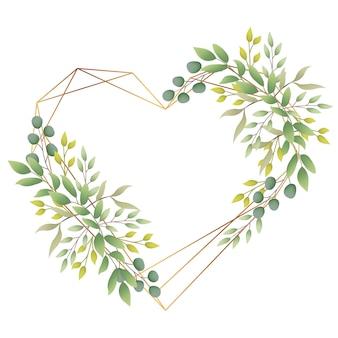 Love greenery frame background