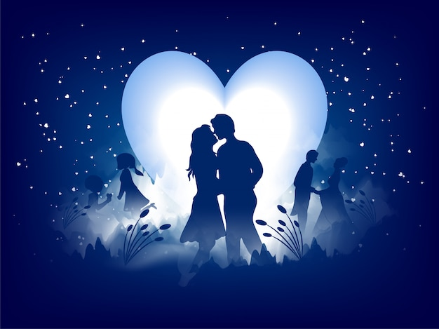 Love greeting card design, romantic silhouette of loving couple