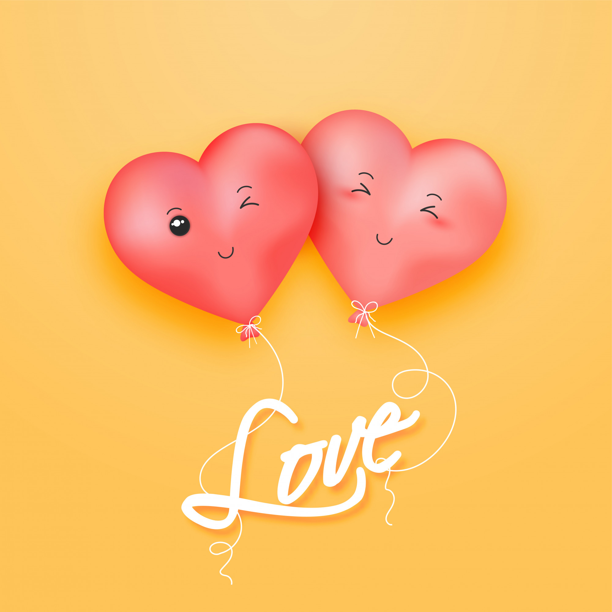 Love greeting card design with illustration of cute heart balloons