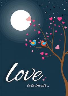 Love greeting card design with love birds sitting on tree brance in full moon night.