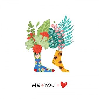 Love greeting card, romantic illustration of a couple in different colored socks. love couple print with quote design. me plus you - love. illustration, flowers in socks.