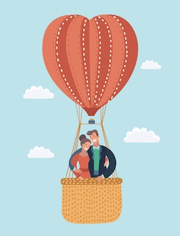 Love greeting card with flying couple in hot air balloon valentines greeting card