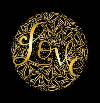Love hand lettering calligraphy on circle background