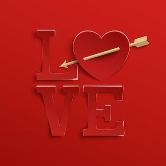 愛。手レタリング。赤い背景にハートと矢印のある紙スタイルのタイプ。